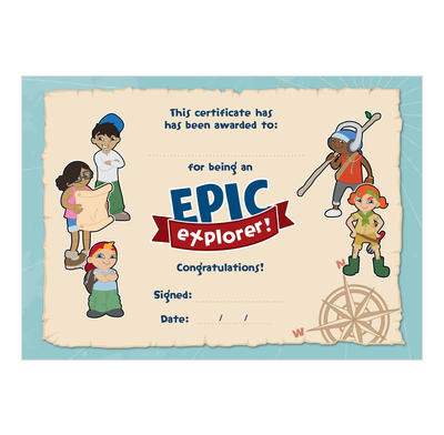 Epic Explorers Certificates (Pack of 10)